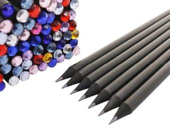 Set of 4 black pencil with diamond top.