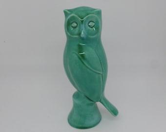 """Vintage Mid Century Anglia Art, Studio Pottery Owl Figurine - turquoise blue glaze,6.5"""" ,16.5cm tall"""