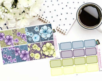 Planner Stickers| Purple Blue and Yellow Floral Full Boxes with Coordinating Half Boxes|For use in various planners|PBYF001 PBYF002