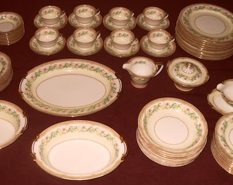 "DISCOUNTED PRICE Vintage 1930s Noritake China, ""Moselle"" service for eight with additional pieces totaling 64."