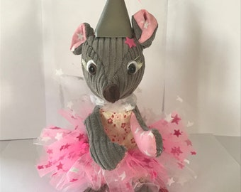 Plush mouse gray and pink tooth fairy