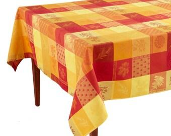 Lourmarin Jaune/Rouge French Jacquard Tablecloth