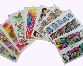 Set of 10 sheets of stickers for nails