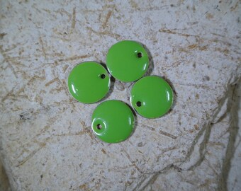 Set of 4 round green sequins 12 mm epoxy enamel 2 sided, hole: 1 mm approx