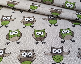 Linen - cotton fabric with green owl
