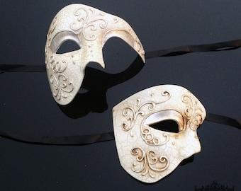 Couples Masquerade Mask, Masquerade Masks, Masquerade Ball Masks, Mens Masquerade Mask, Lady's Phantom Mask [Ivory Phantom Set]