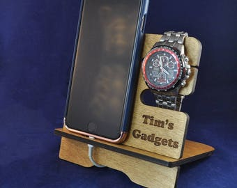 Mini Wooden Valet Stand: Choice of Colours. Keys, Wallet, Phone, Watch, Apple Watch™