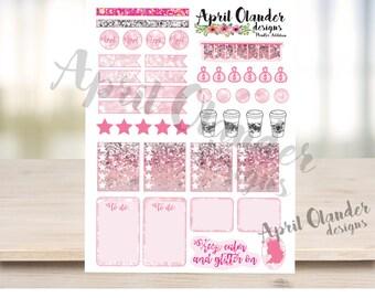 Pink Glitter Planner Stickers