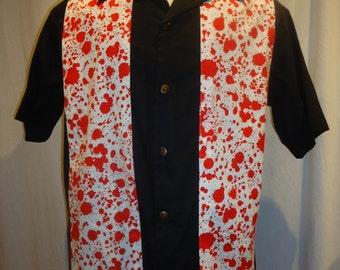 Dexter Blood Splatter, red on white background on black panel, Men's Size Large shirt