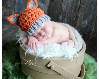 Crochet Fox Hat - Any size, baby, boy, girl, toddler, child, adult, photo prop