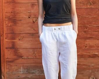 White Linen Pants, Plus Size Clothing, Women White Trousers, Maxi White Pants, Minimalist Pants, Summer White Pants, Linen Trousers