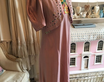 1940s crepe and silk dress