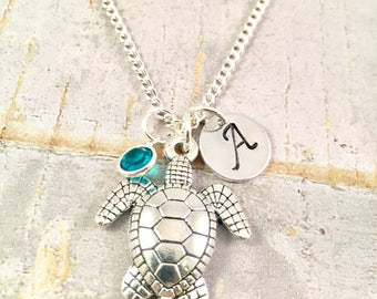Turtle Necklace, Turtle Charm Necklace, Silver Turtle, Pendant, Initial Charm, Birthstone, Personalized, Sea Turtle, Tortoise, Gift