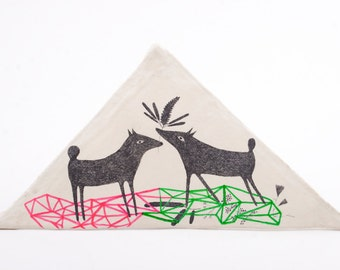 Affordable Modern Art Object, Hanging Ornament, Mixed Media, Art, Drawing on Clay, Geometric Art, Wall Decoration, Love, Dogs Illustration