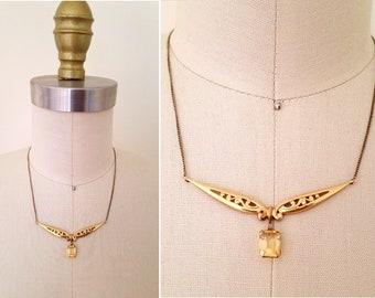 Satonia art deco citrine necklace   vintage 1930s 1940s necklace  gold citrine necklace