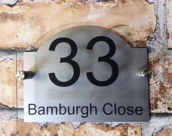 MODERN HOUSE SIGN plaque door number house name glass and aluminium effect - 175mm x 135mm