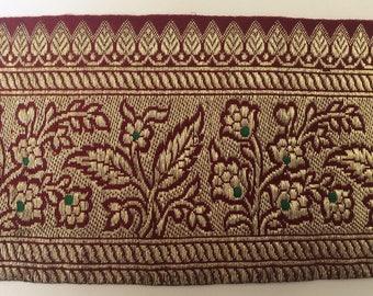Antique Gold Metallic Trim, Hand Woven Floral Design, Indian Sari Trim, 4 Pieces , 5 yards