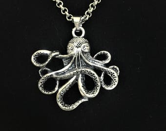 Octopus Pendant Necklace \\ Silver Jewelry \\ Silver Chain