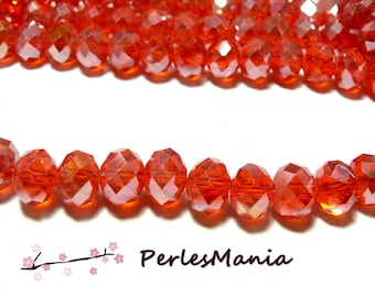 10 Red iridescent 2J1709 8x10mm glass rondelles faceted