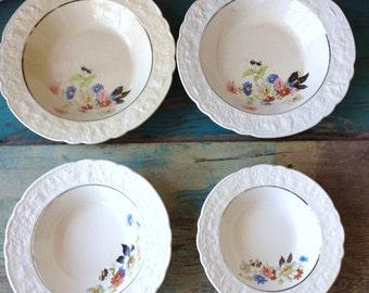 Vintage Bowls, Floral Design China Bowls, Old Holland Ware Shape, Vintage Dishes, Red Blue Pink, Assorted Sized Vintage Bowls, Vintage China