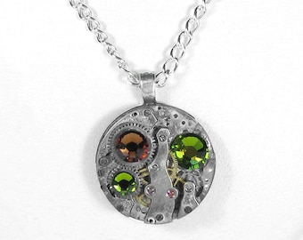 Steampunk Jewelry Necklace Vintage Watch Movement Olive Topaz Crystals Wedding Anniversary Valentine's Day - Jewelry by Steampunk Boutique