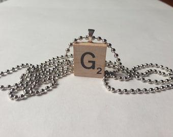 Scrabble Tile Alphabet Letter Necklace G