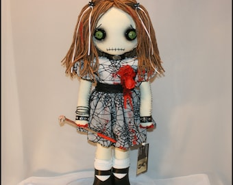 OOAK Hand Stitched Broken Bloody Heart Rag Doll Creepy Gothic Horror Outsider Art By Jodi Cain Tattered Rags