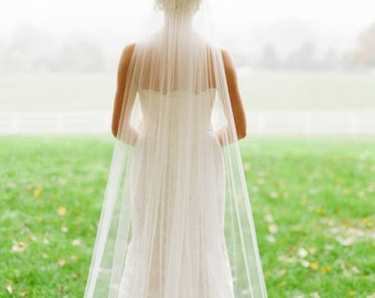 Cathedral, fingertip, elbow, shoulder wedding veil, **108 in. wide** white to ivory, blush, cut edge, glimmer, one tier with comb