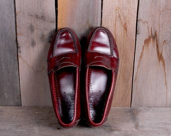 1980s Era Cole Haan Women's Red Cordovan Penny Loafers Preppy Style Size 6.5