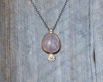 Morganite and Diamond Necklace - Gold and Silver Wildflower Necklace