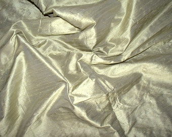 Silk dupioni in Straw yellow with Grey  shimmer - Half yard Extra wide 54 inches - DEX 196