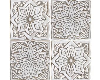 Outdoor wall art with Moroccan design, SET OF 4 TILES, garden art,Ceramic tile garden decor,Ceramic wall art,4 tiles, 15 cm, white and beige