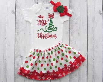 My First Christmas Outfit for Baby Girl - holiday outfit baby girl, red and green, holiday outfit, baby girl christmas dress
