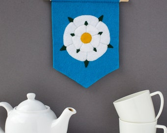 Yorkshire Rose Pennant Flag - handmade felt Yorkshire hanging flag - Yorkshire gift - home decor