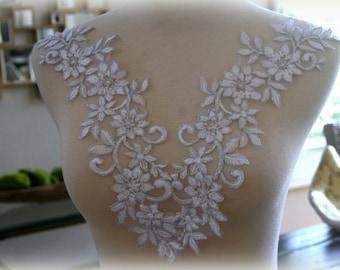Set of  White Lace Applique, Applique, Wedding Applique, Custom Design, Couture Design, Dressmaking, Veil  GD-91564W