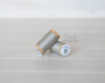 Organic Cotton Thread GOTS - 300 Yards Wooden Spool  - Thread Color Sand - No. 4831 - Eco Friendly Thread - 100% Organic Cotton