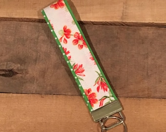 Floral fabric key fob - key chain - key ring - red -white - green - flowers - flower key chain