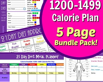 21 Day Diet 1200-1499 Calories Fix Your Bod with our 5 Page PDF BUNDLE: Day Planner, Tally Sheets, Tracker, Meal Planner & Food List!
