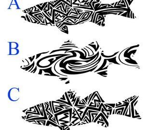Tribal Striped Bass fishing vinyl diecut decal car truck window laptop