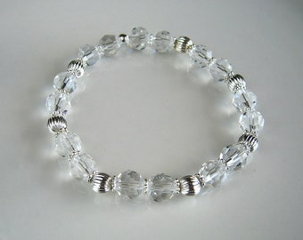Silver and Clear Crystal Stretch Bracelet Stacking Bracelet Crystal Jewelry