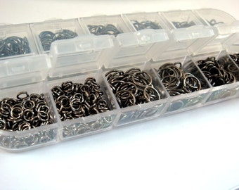 Black Jump Ring Assortment Black Gunmetal Plated Iron Not Soldered Boxed 4mm to 10mm - F4003JR-ASB