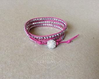 Raspberry Leather Wrap Bracelet
