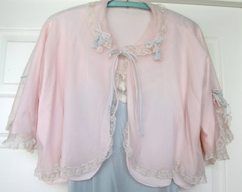 50s Vintage Bed Jacket Lingerie Pastel Saks Fifth Avenue Sheer Pink Double Layers Lace Scallops - Blue Flowers - Two Tone - Bridal Lingerie