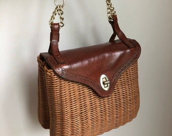 Vintage 1960's Garay Leather and Wicker Purse Handbag with Chain Strap