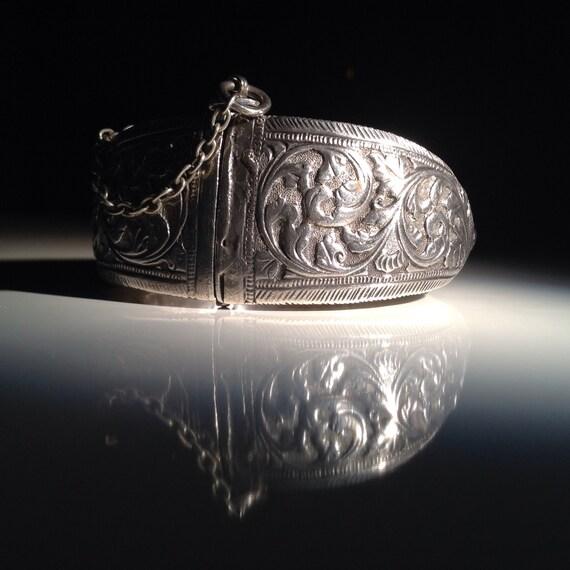 Kashmiri Silver Repousse Bracelet Tribal Sterling
