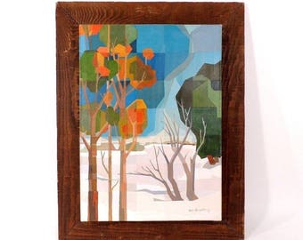 Cubist Trees and Seasons Landscape Painting Canvas on Vintage Rustic Wood Frame