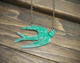 Green Brass Bird Necklace