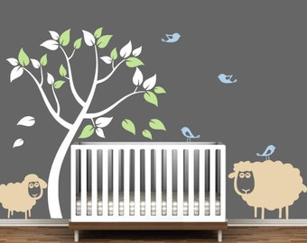 Nursery Wall Decal with Sheep and Birds