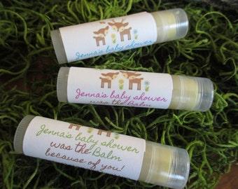Woodland Deer Baby Shower Lip Balm Favors Organic Lip Balm Baby Shower Favor Personalized Lip Balm Favors Custom Lip Balm Baby Shower Favor