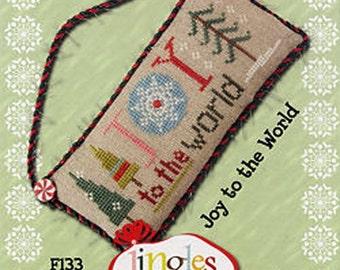 Lizzie Kate Flip-It Jingles - Joy to the World F133 - Christmas Cross Stitch Pattern Chart with button
